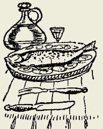 камбала жареная с грибами и солёными огурцами
