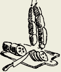 Поджарка из колбасы с грибами и помидорами