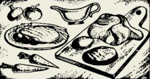 Язык варёный с гарниром и соусом