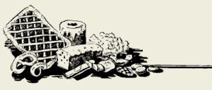 Пирожное слойка с белковым кремом и орехами