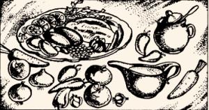 Язык варёный под соусом из ягод с вином